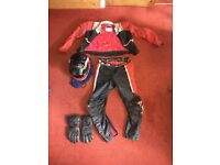 DAINESE motorcycle leathers and SHOEI full face helmet