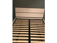 White gloss king size bed