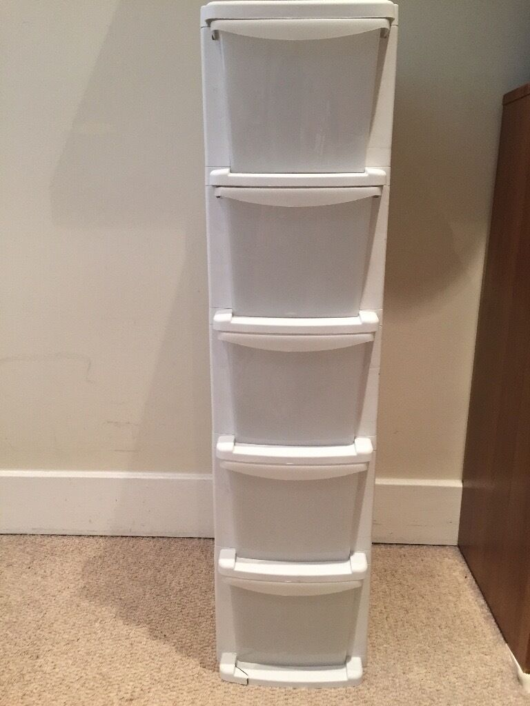 Argos 5 Drawer Plastic Slim Tower Storage Unit White