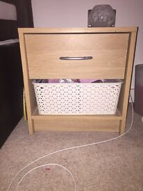 2x Oak effect bedside tables