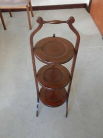 Antique Wooden 3 Tier Stand for Cakes, Plants or Ornaments - in Very Good Condition.