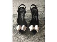 Vivienne Westwood Ladies Black Shoes With White Bow *Size 4* WORN ONCE