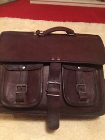 Brown Real Leather Sachel/ Laptop