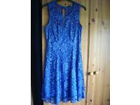 Quiz royal blue ladies dress with lace detail size 12