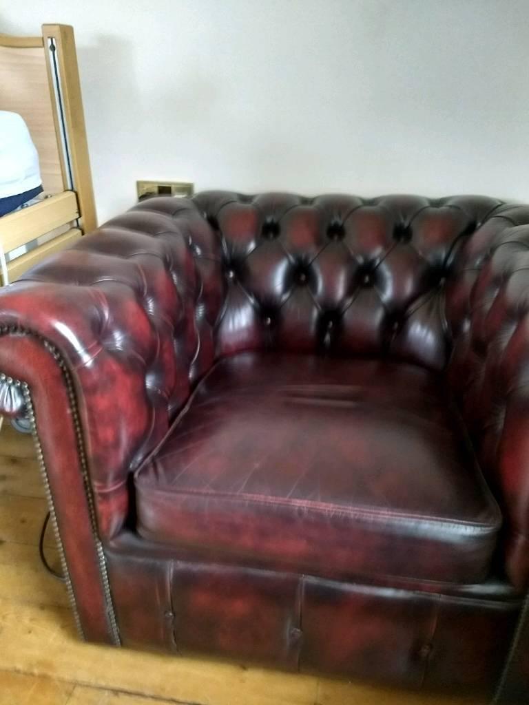 Thomas Lloyd Oxblood Quality Club Chair And Stool In