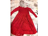 Beautiful lace bardot-top knee length red dress