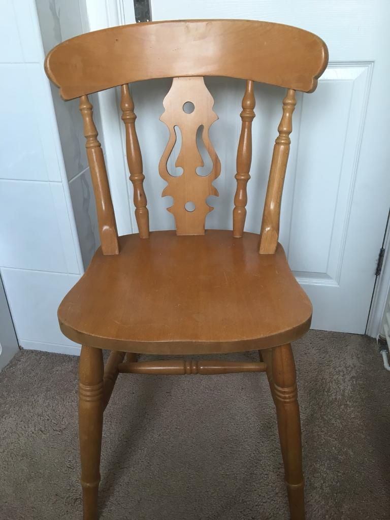 Solid Pine Dining Chairs x 3