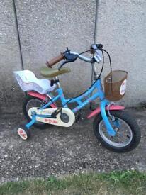 "Girls bike 3/4years 12"" DAWES DUCHESS basket and dolls seat"