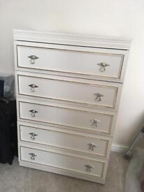 Stunning White Vintage Chest of Drawers with 5 drawers with golden trim
