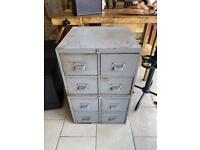 Industrial metal chest of drawers W51 d51 H81cm Original condition
