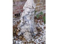 Vintage |Reconstituted Stone Gnome on Tortoise