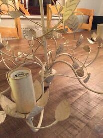 Brushed cream 6 bulb chandelier.