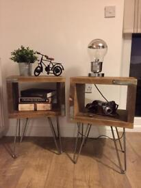 Unique very elegant hand made industrial style bedside tables set