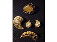 Gold Coloured Brooches and Earrings - Costume Jewellery 1950's