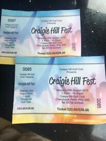 2 tickets for Craigie hill fest, perth, sat 25th August