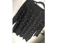 Pearls grey blouse size S