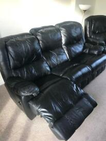 Black leather reclining 3 piece suit with 2 recliner chairs!