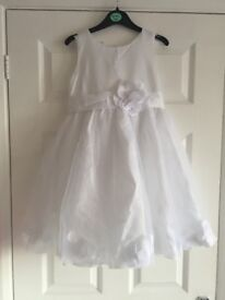 3 x Brand New Childrens Bridesmaid Dress. Age 10, 4 & 3. White, Bow, Wedding, Christening, Party