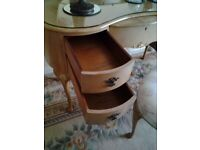 Burr walnut dressing table and 2 bedside cabinets