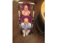Double buggy+ 2 baby annabell