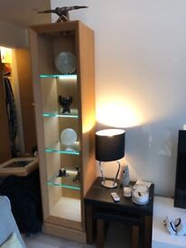Amazing Solid Oak Display Cabinet with LED lit glass shelves