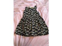 TIGER! TIGER! Cotton dress - age 2-4 black / natural. Used.
