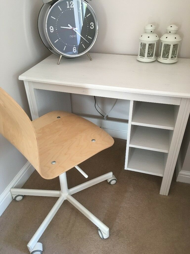 Ikea White Washed Desk And Matching Office Chair Fantastic Condition