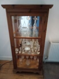 SOLD Pine Victorian Style Glass Display Cabinet