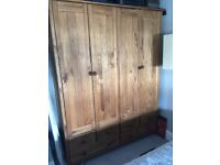 Stained Scandinavia 4 Door 6 Drawer Wardrobe - Pine