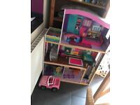 childrens dolls house with doll and furniture