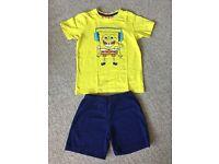 Sponge Bob Square Pants T-shirt and Short Pyjamas - Size 4 (110/116) - £2