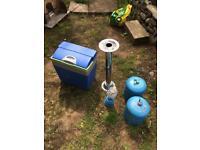 Cool box, 2 camping gaz bottles, gas light and table leg campervan