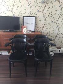4 x vintage retro wooden cafe chairs