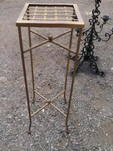 "PLANT STAND Tall Gold Solid Metal Oakville High 11x11x33"" Hall Table Skinny Legs Steel or Brass"