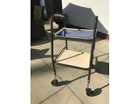 Walker Rolator Trolley With 2 Trays - Height Adjustable Walking Aid - £10