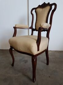 ANTIQUE MAHOGANY ARMCHAIR / CARVED CHAIR QUEEN ANNE STYLE FRONT LEGS DELIVERY AVAILABLE