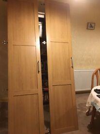 2 x IKEA Barmen oak effect Wardrobe Doors, Rail and Drawer (to fit oak effect PAX wardrobe frame)