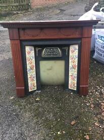 Wooden tiled fireplace surround