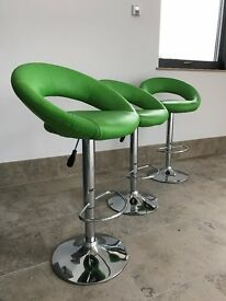 Set of three Zingy Green Bar Stools for Sale - New Condition