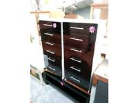Black gloss fronted chest of drawers for 45 each