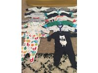 Huge Baby Boy Newborn up to 1 month clothes bundle sleepsuits, snow suit and outfits 48 pieces