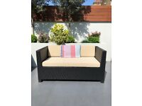 Dark Brown Rattan Sofa