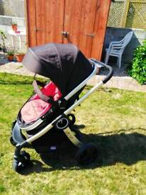 Chicco Urban pram and pushchair with Red colour pack