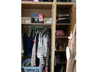 Single and double wardrobe with shelves