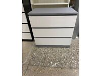 MALM Chest of 3 drawers, grey stained/high gloss white 80x78 cm IKEA Croydon #bargaincorner