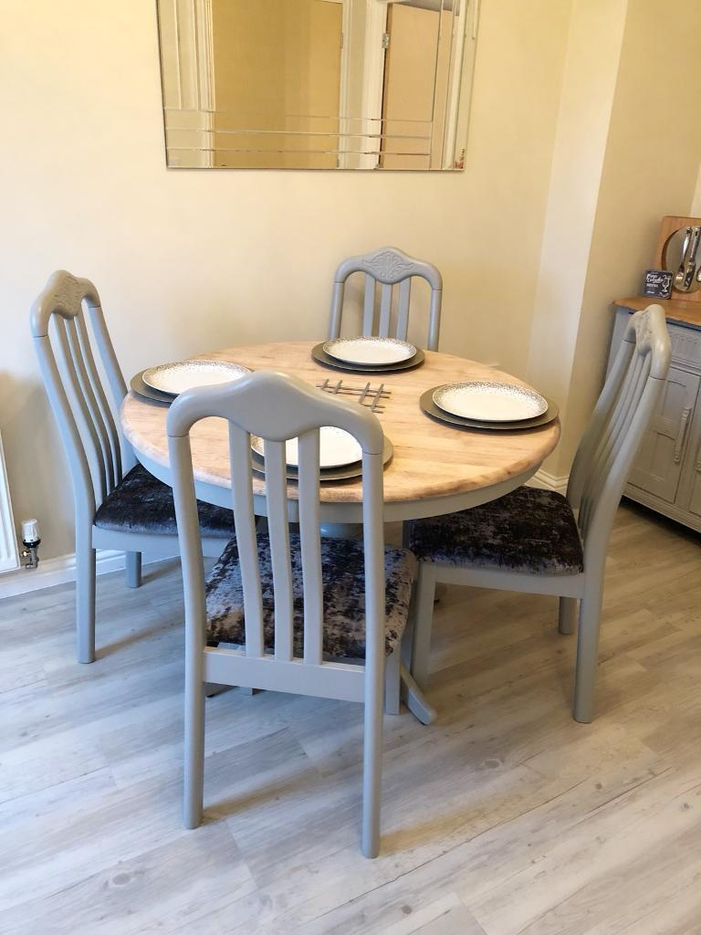 Oak Round Dining Table 4 Chairs Annie Sloan Paris Grey In St