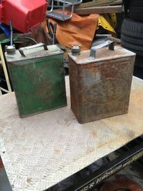 Two vintage petrol cans.