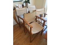 3 classic natural canvas Directors chairs + 1 Habitat cream leather one