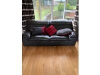Richard Butler leather three seater settee
