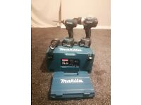 Makita combi drill and impact driver 18v,2x5.0 ah batteries, charger and makita bit set